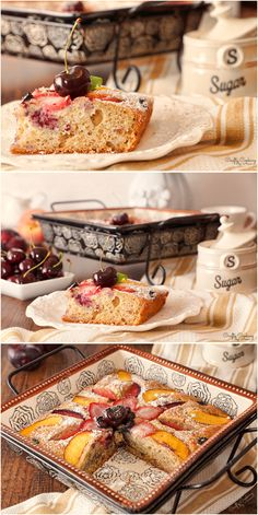 Moist Banana Cake with Peaches, Plums, Strawberries and Blueberries! Blueberries, Strawberries, Delicious Recipes, Yummy Food, Strawberry Bread, How Sweet Eats, Pound Cake, Peaches, Plum