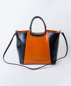 Love this Nero & Cognac Color Block Leather Tote by Pelleterie Lisa on #zulily! #zulilyfinds