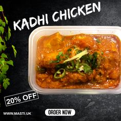 If you've never tasted our Kadhi chicken, it's time to change that!😋👌 . . Chicken breast cooked with caramelised onions, tomatoes, peppers, chillies & fresh coriander with a touch of cream.👨‍🍳🧑‍🍳 . . Only takeaways and deliveries available until we are allowed to have sit-ins again.😋👌 . Don't forget, Masti offers a 20% discount for all collection and takeaway orders placed directly with us.🍻😋👌