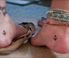 Cute idea for sisters/best friend tattoos  ***~you are my anchor, with you I will never sink~***
