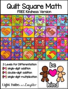 Our world needs more kindness, and so do our classrooms!  My hope is that you will use this Kindness Math Art Quilt as a part of your effort to promote kindness on your school campus and in your classroom.Let's turn math practice into a beautiful Kindness art project!