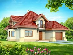 DN Karen is a house with an attic, basement with garage single user in a block building. The project is. Two Story House Design, Simple House Design, Dream Home Design, Home Design Plans, Indian House Exterior Design, Kerala House Design, Family House Plans, Dream House Plans, Home Building Design