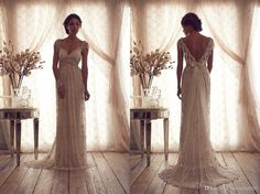 Wholesale 2014 Vintage Sheer Backless Crystal Beading Wedding Dresses A Line V Neck Cap Sleeves Chapel Train Lace Bridal Gowns, Free shipping, $147.94/Piece | DHgate Mobile