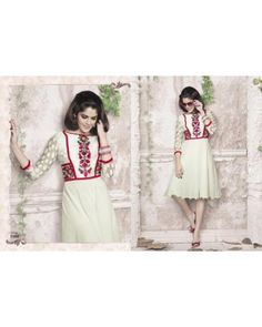 Off White Color Georgette Fabric Kurti