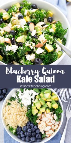 This Blueberry Quinoa Kale Salad is healthy and so delicious! With avocado and almonds, this easy salad recipe is packed with flavor. Perfect for lunch or dinner! #kalesalad #quinoa