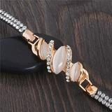 Gold Charm Bracelet Leather Band With Austrian Crystal And Opal