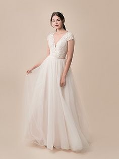 Moonlight Tango T790 Plunging V-Neck Ball Gown Wedding Dress with Short Sleeves