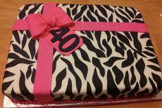 Zebra present sheet cake