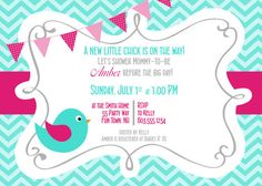 Birds Baby Shower Invitation Girl Pink Turquoise - Bird Chevron Baby Shower - Pink Turquoise - Bunting Banner - Birdcage Baby Shower on Etsy, $14.00