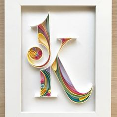 Quill sign - Personalized Letter - Fathers Day gift - Custom initial gift - Any letters Arte Quilling, Quilling Letters, Quilling Paper Craft, Quilled Paper Art, Paper Quilling Designs, Alphabet Wallpaper, Diy Letters, Quilling Techniques, Handmade Birthday Cards