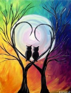 Step by step to your own Masterpiece with Paint Along Cute Canvas Paintings, Easy Canvas Painting, Diy Canvas Art, Painting & Drawing, Owl Paintings, Owl Canvas, Cool Art Drawings, Owl Drawings, Oil Pastel Art
