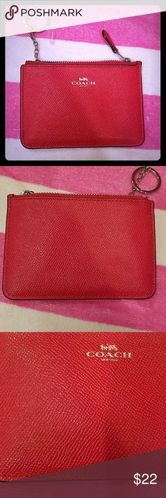 Coach Red Coin Purse Has one pen mark as shown on the third picture. Overall good condition. Coach Accessories Key & Card Holders