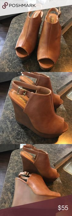 Brown Wedges Brown Wedges with gold hardware  brown wood like Wedge  never worn  may still have the box  Shoes Wedges
