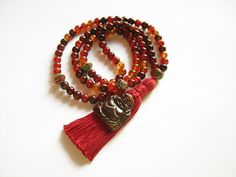 Agate stone 108 mala bead necklace with red cotton by AellaJewelry Stone Necklace, Tassel Necklace, Fall Jewelry, Bone Carving, Agate Beads, Agate Stone, Ethnic Jewelry, Maitreya Buddha, Fashion Jewelry