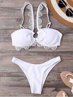 Wedding Bride V Strap Bikini Set - WHITE L