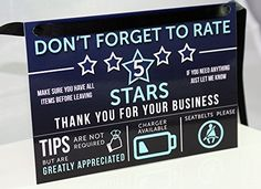 Uber Lyft Tip and Rating Sign for Rideshare Drivers
