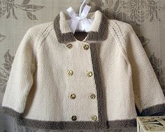 Baby double breasted coat with contrasting trim - P002 by OGE Knitwear Designs - AU$5.00 AUD