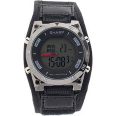 Men's Black Sharp Digital Watch with 100' Water Resistance, El Backlight, Alarm, Stopwatch and Date, Fast-Wrap Strap