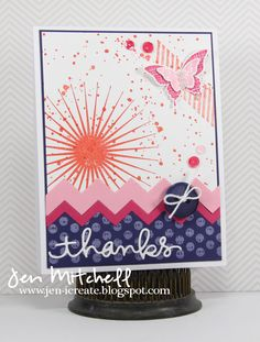 Stampin' Up! Kinda Eclectic, Thank You for and by jenmitchell - Cards and Paper Crafts at Splitcoaststampers Rainbow Cloud, Some Fun, I Card, Pretty In Pink, Thank You Cards, Stampin Up, Projects To Try, Paper Crafts, Tapestry