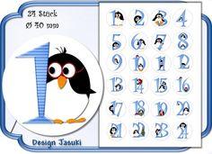 selbstklebende Zahlen Adventskalender Pinguin blau von Jasuki auf DaWanda.com