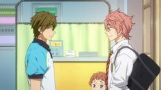 Free! ES ~~ Look at those cute little eyes down near the bottom of the frame. Awwe! :: Makoto, Kisumi, and Hayato