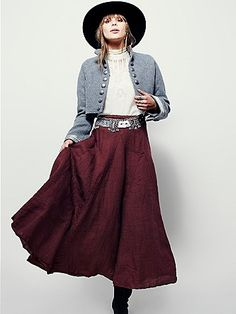 ╰☆╮Boho chic bohemian boho style hippy hippie chic bohème vibe gypsy fashion indie folk the . Bohemian Skirt, Boho Skirts, Boho Outfits, Dress Outfits, Boho Fashion, Winter Fashion, Fashion Rings, Free People Clothing, Maxi Styles