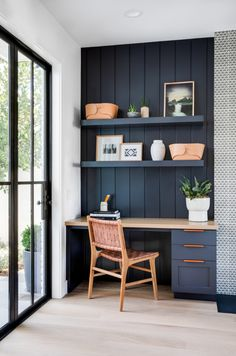 Small home office design ideas Home Office Space, Home Office Design, Home Office Decor, House Design, Home Decor, Office Ideas, Blue Home Offices, Kitchen Office Nook, Small Bedroom Office