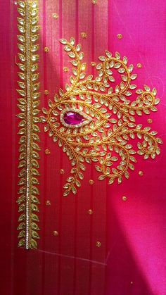 Mom's yellow wedding sari Magam Work Designs, Hand Work Design, Hand Work Blouse Design, Simple Blouse Designs, Fancy Blouse Designs, Bridal Blouse Designs, Hand Designs, Stylish Blouse Design, Simple Designs