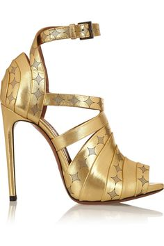 Alaïa Printed metallic leather sandals NET-A-PORTER.COM