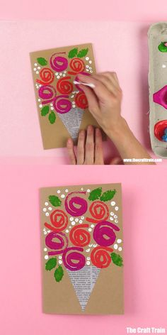 Easy stamped roses card to make using a hand made sponge stamp. This is a sweet handmade gift card for Mothers Day, Valentines Day, Get Well Soon or just to show someone you care. So easy! crafts for kids at homecrafts for kids to make Easy Mother's Day Crafts, Mothers Day Crafts For Kids, Diy Mothers Day Gifts, Diy Crafts For Kids, Mothers Day Cards Craft, Diy Gifts For Grandma, Diy Niños Manualidades, Mother's Day Diy, Flower Crafts