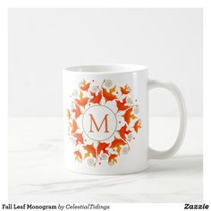 Fall Leaf Monogram Coffee Mug - thanksgiving day family holiday decor design idea Monogram Coffee Mug, Coffee Mugs, Coffee Lovers, Halloween Cups, Name Mugs, Birthday Mug, Autumn Coffee, Monogram Gifts, Custom Mugs