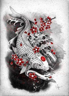 white koi red sakuras