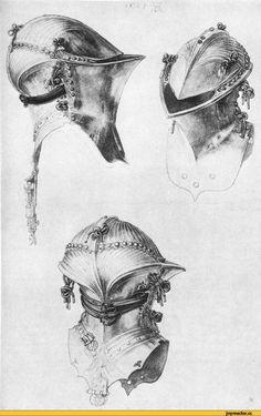 """Stechhelm или шлем """"лягушачья пасть"""". Использовался конными рыцарями с 14-го по 17-й века."""