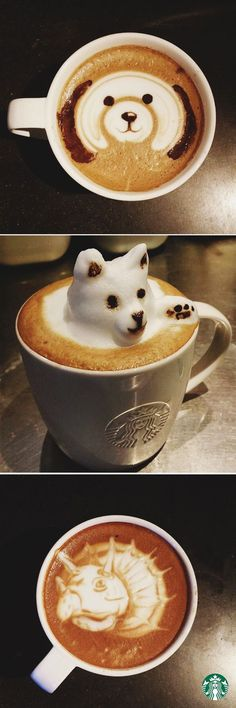 artist: Paulo Asi This is another form of latte art. Some forms can be created by directly drawing into the foam on top. Asi creates animal forms in his latte art, suggesting innocence and play.
