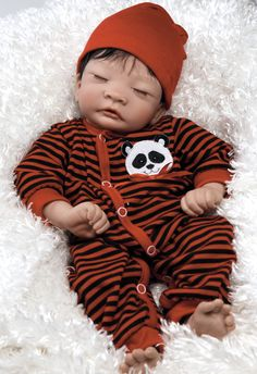 Asian Baby Doll, Panda Twin Boy, 17 inch Vinyl with Weighted Body