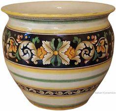 Italian Ceramic Vase/Planter - Ornato Black Décor - 16 inches high x 14 inches diameter (40cm high x 36 cm diameter)