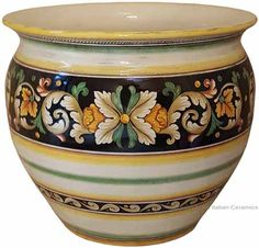 Italian Ceramic Vase/Planter - Ornato Black Décor - 16 inches high x 14 inches diameter (40cm high x 36 cm diameter)