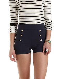 "High-Waisted Sailor Shorts: Charlotte Russe $22.99 I love these. I do not think I can pull off but will be adorable for a ""nautical look"" or for 70s glamour look with a blousey top or orange or pink baggy sweater. For now, I will hit the gym. lol"