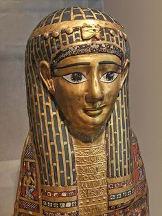 Mummy Head Cover Egyptian Roman Period 1st century BCE Cartonnage with gold leaf