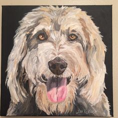 Golden doodle dog painting, custom pet painting 8x8""