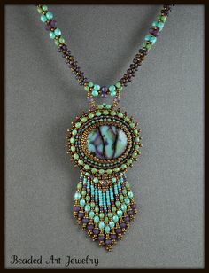 Bead Embroidered, Beaded, Beadwork Summer Skies Necklace.