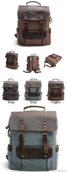 407587e9f6 Vintage Large Laptop Thick Canvas Travel Rucksack Bag Splicing Leather  Outdoor Backpacks for big sale !