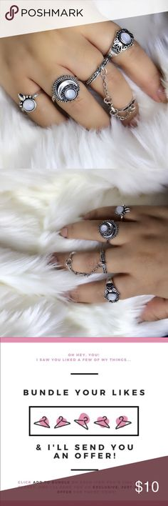 """NEW🔥 Trendy """"MoonLight"""" Midi Ring Set 