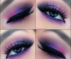 Eye make up Purple Eye Makeup, Skin Makeup, Eyeshadow Makeup, Beauty Makeup, Purple Eyeshadow, Purple Smokey Eye, Face Beauty, Smoky Eye, Makeup Art