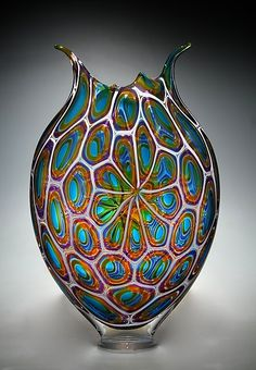 "Aqua, Gold, and Hyacinth Foglio by David Patchen (Art Glass Sculpture) (18"" x 11.5"")"