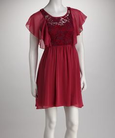 Take a look at this Magenta Lace Angel-Sleeve Dress by Women's Blow-Out Sale on #zulily today!