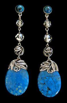 Arts & Crafts Earrings. BERNARD INSTONE  Arts & Crafts Earrings   Silver Swiss lapis  British, c.1930    Ref: 762