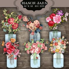 Wedding Clip Art Mason Jar Bouquet Digital by ItGirlDigital