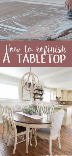 DIY How to Refinish a Tabletop - Start at Home Decor - DIY How to Refinish a Tabletop - Start at Home Decor Start at Home All Things DIY Have an old table laying around? I have a complete tutorial on how to bring a tabletop back to life. Refinish Table Top, Refinished Table, Refinished Furniture, Furniture Makeover, Painted Furniture, Diy Farmhouse Table, Farmhouse Furniture, New Furniture, Rustic Farmhouse