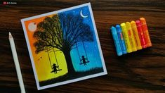 Day and Night scenery drawing for beginners with Oil Pastels – step by step/ Best Picture For my ideas diy For Your … Oil Pastel Colours, Soft Pastel Art, Pastel Artwork, Oil Pastel Paintings, Pastel Flowers, Art Flowers, Crayon Painting, Crayon Art, Oil Pastel Drawings Easy